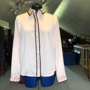 Karl Lagerfeld Paris pink ornate button blouse
